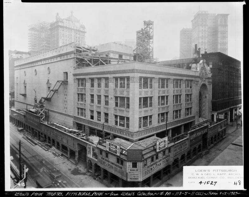 The Loew's Penn Theater, now Heinz Hall, pictured in downtown Pittsburgh on Friday, April 15, 1927. Pittsburgh is home to many architecturally singificant theaters and the first commercial movie venue.