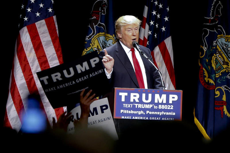 Republican presidential candidate Donald Trump speaks during a campaign rally in Pittsburgh, Wednesday, April 13, 2016.