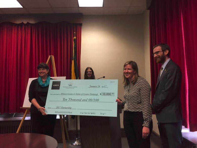 Uber donated $10,000 to the Women's Center and Shelter of Greater Pittsburgh Tuesday, Jan. 24, 2017.
