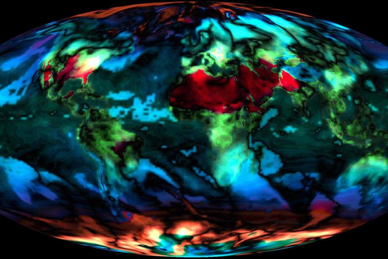 A NASA visualization of expected global temperature changes from 2014 to 2099.
