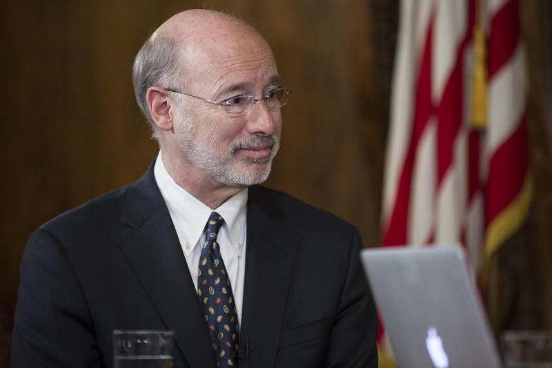 Gov. Tom Wolf holds a Facebook town hall in Harrisburg on Tuesday, Feb. 21, 2017.