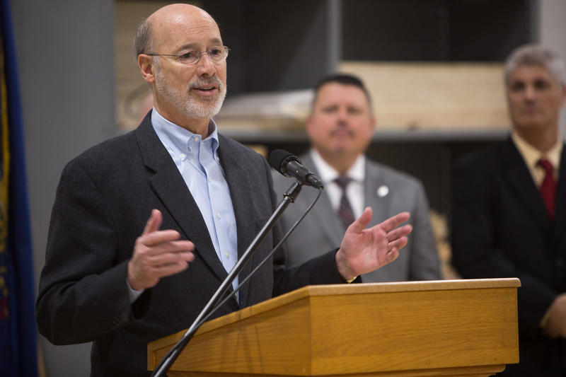 Gov. Tom Wolf speaks in Allentown, Pa. about his plan to support job training and manufacturing on Feb. 8, 2017.