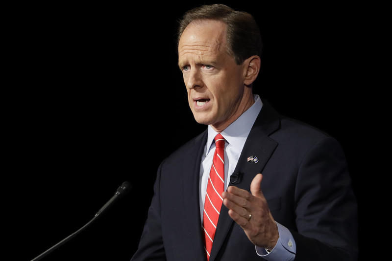 Republican Sen. Pat Toomey takes part in a Pennsylvania U.S. Senate candidate debate at Temple University in Philadelphia, Monday, Oct. 24, 2016.