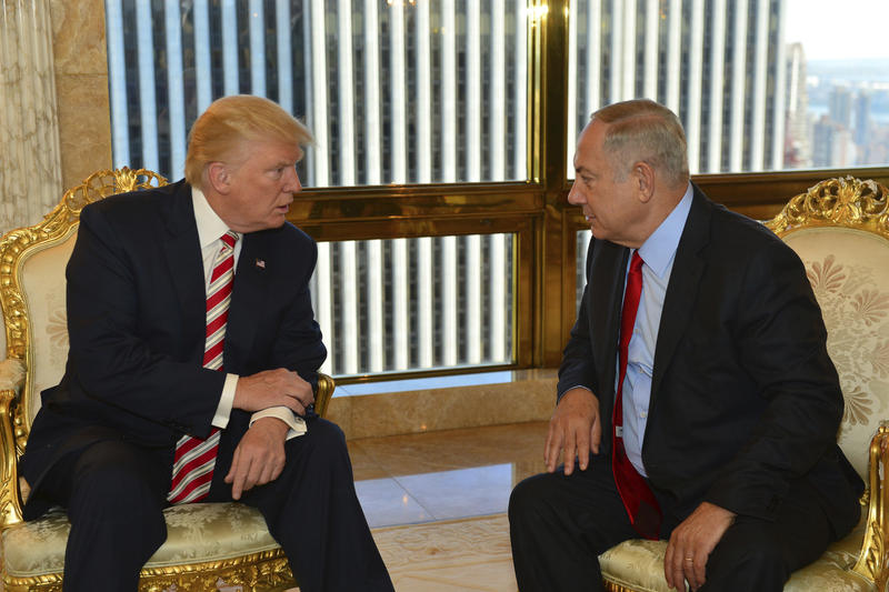 In this handout photo made on Sunday, Sept. 25, 2016, provided by the Israeli Government Press Office, Republican then-presidential candidate Donald Trump meets Israeli Prime Minister Benjamin Netanyahu.