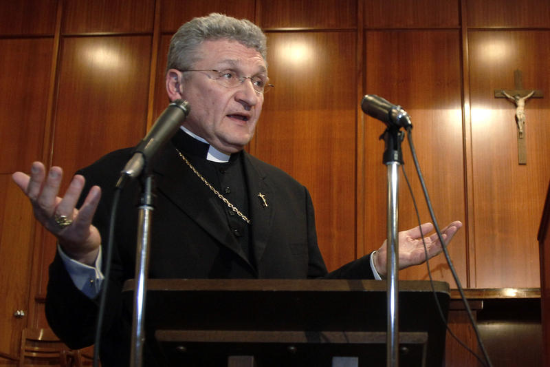 In this file photo from Oct. 5, 2011, Bishop David Zubik of the Catholic Diocese of Pittsburgh answers questions after a news conference in Pittsburgh.