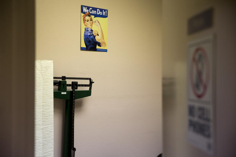 "A sign says ""We Can Do It"" inside a clinic room at Whole Women's Health, an abortion provider in Texas. Pennsylvania legislators are proposing a 20-week abortion ban that would also limit how health providers perform the procedure."