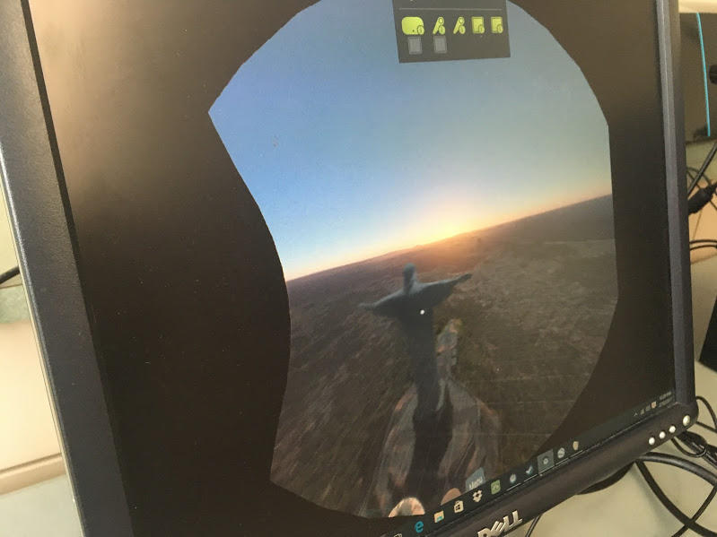 The view from a VR headset of the Christ the Redeemer statue in Rio de Janiero is displayed on a screen during a training at the Allegheny Intermediate Unit on Friday, February 10, 2017.