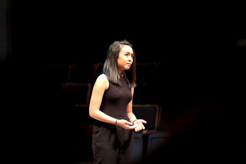 "Michelle Do, a student at North Hills Senior High School, performs a monologue from ""Julius Caesar"" during the Pittsburgh Public Theater's scene and monologue competition."