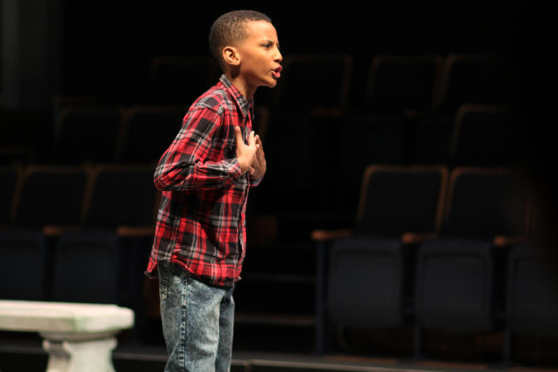 "Jaylen Hocker, a fifth grader from Jefferson Elementary School, performs a monologue from ""The Merchant of Venice."""