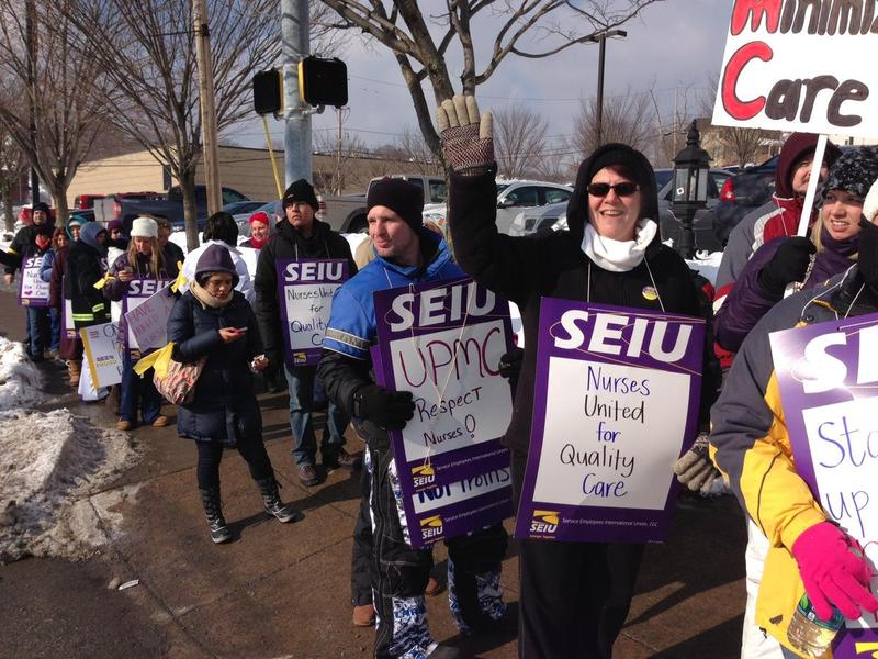 Nurses at UPMC Altoona walked off the job Tuesday, Feb. 11, 2014 after contract negotiations broke down.