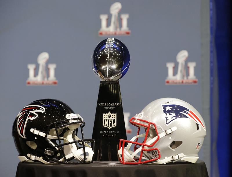 The Vince Lombardi Trophy is seen before NFL Commissioner Roger Goodell's news conference during preparations for the NFL Super Bowl 51 football game Wednesday, Feb. 1, 2017.