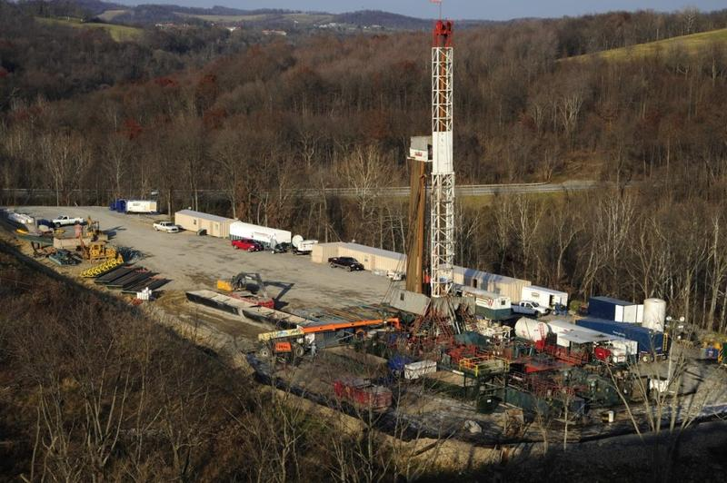 A natural gas drilling rig in Greene County, Pennsylvania.