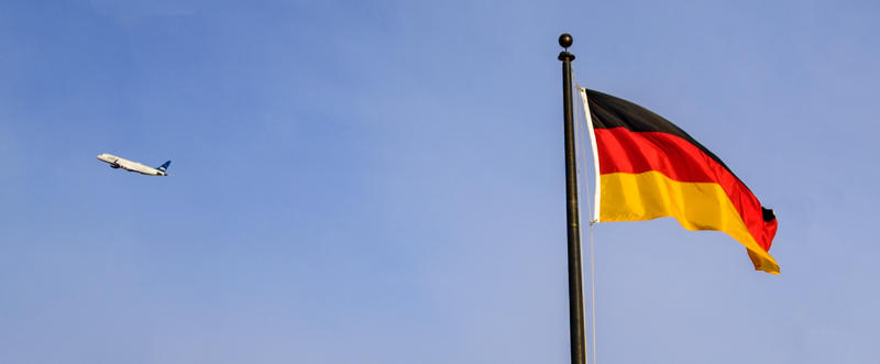 The German flag flies at Pittsburgh International Airport.  A new non-stop flight to Frankfurt, Germany will begin in August and that has Sen. Bob Casey concered there will not be enough Border Patrol Agents on hand.
