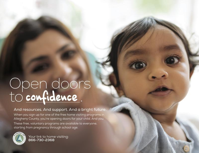 "The ""Open Doors to Home Visiting"" campaign encourages Allegheny County families to seek free home visit services."