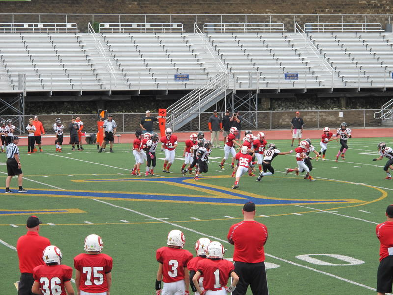 Youth football players during a game on Sunday, October 2, 2016. Pennsylvanian's law providing a protocol for concussions sustained during youth sports went into effect in 2012.
