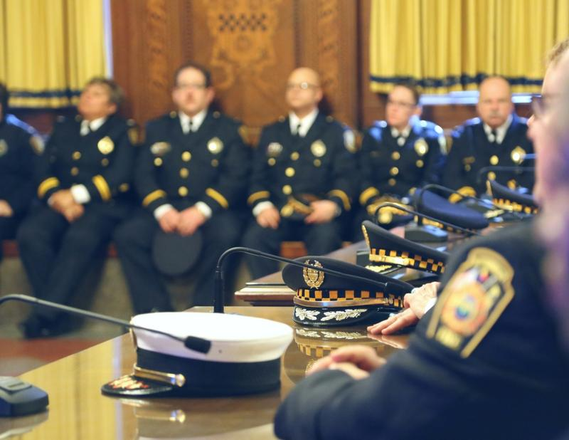 Public safety officers take part in a promotion ceremony at the City-County Building downtown on Thursday, Feb. 16, 2017.