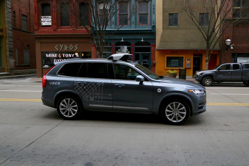 A self-driving Uber car on Liberty Ave. downtown on Thursday, February 2, 2017.