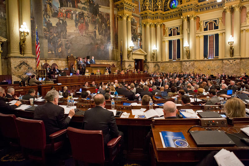 Gov. Tom Wolf speaks to the House of Representatives at the state capitol building in Harrisburg on March 3, 2015.