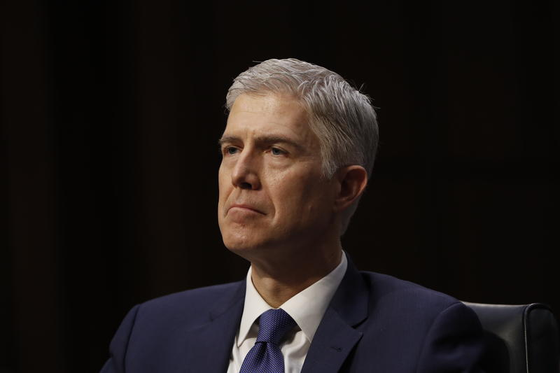 Supreme Court Justice nominee Neil Gorsuch listens on Capitol Hill in Washington, Monday, March 20, 2017.
