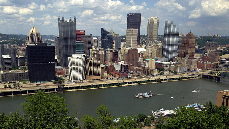 The Monongahela River lies to the south of Pittsburgh's central business district. Before efforts to improve the city's air and water, the skyline's edges used to be blurred by pollution.