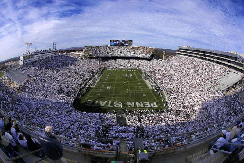 Penn State and Michigan play during a white-out at Beaver Stadium during the first half of an NCAA college football game in State College, Pa., Saturday, Nov. 21, 2015.