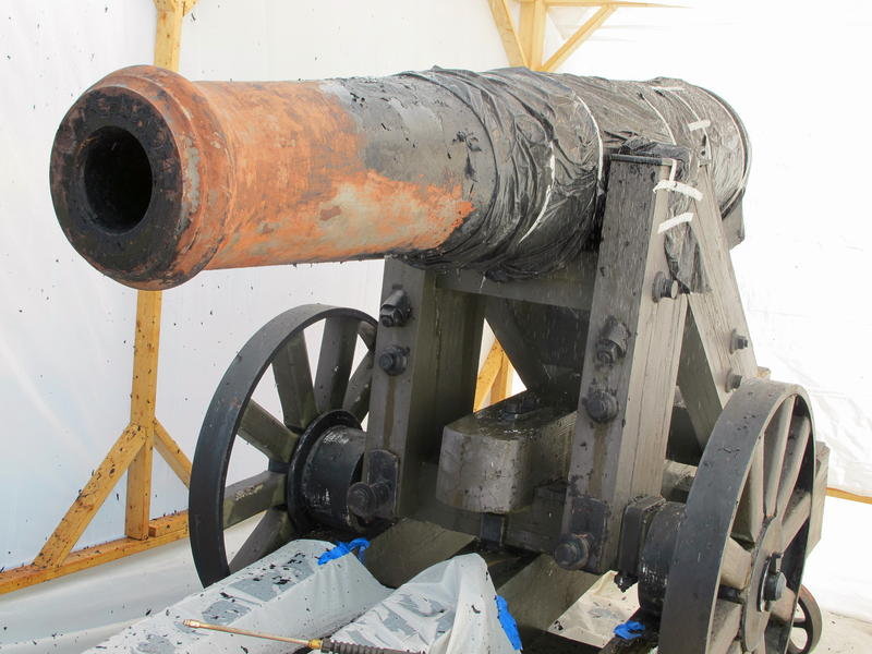 An 1830 artillery piece, used in the Civil War, being restored in South Carolina on Friday, Dec. 13, 2013. Twenty cannonballs were found at the site of Allegheny Arsenal this week.