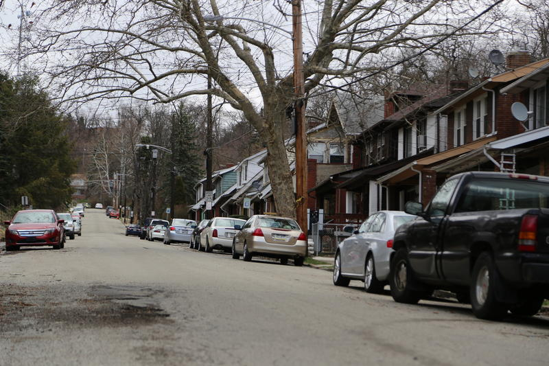 Houses line Franklin Avenue in Wilkinsburg on Thursday, March 2, 2016, nearly one year after five adults, including a pregnant woman, were killed in an ambush-style shooting.