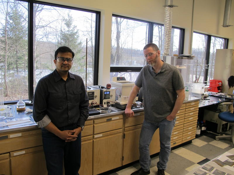 LumiShield Chief Technology Officer Hunaid Nulwala (L) and LumiShield CEO Dave Luebke are hoping to scale up their technology from their Robinson Township lab.
