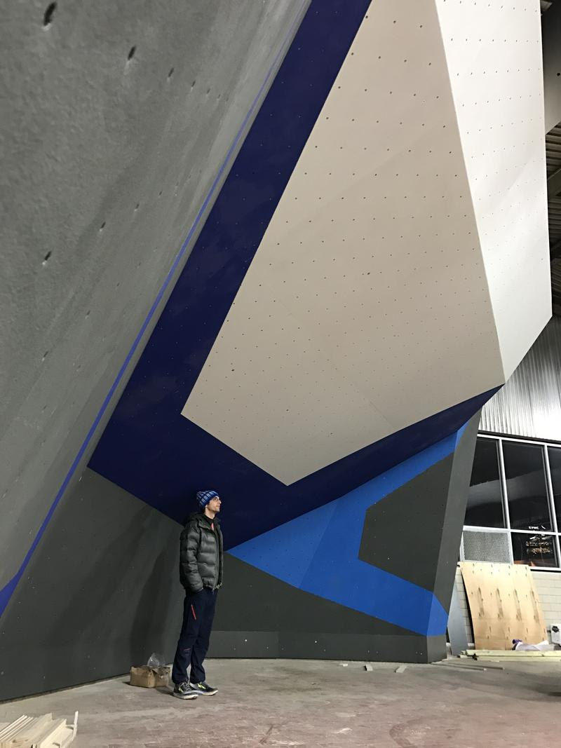 Todd McCormick, 31, of Squirrel Hill stands beneath a bare, newly installed Walltopia climbing cave at Ascend on Pittsburgh's South Side on Monday, Jan. 30, 2017.