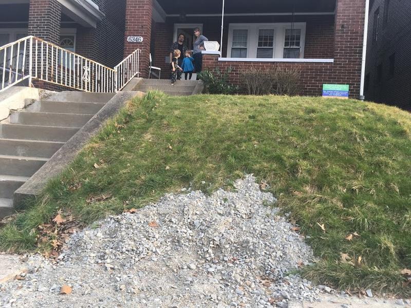 Gravel covers the spot where PWSA dug up Steve Hayashi and Emily Drill's sidewalk in Squirrel Hill to determine if their private service line is made of lead.