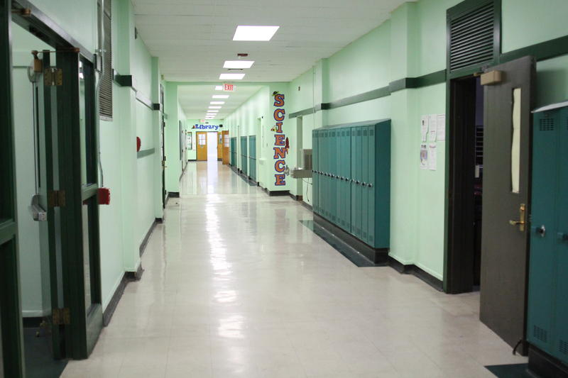 A hallway in Sto-Rox high school is empty during a class period.