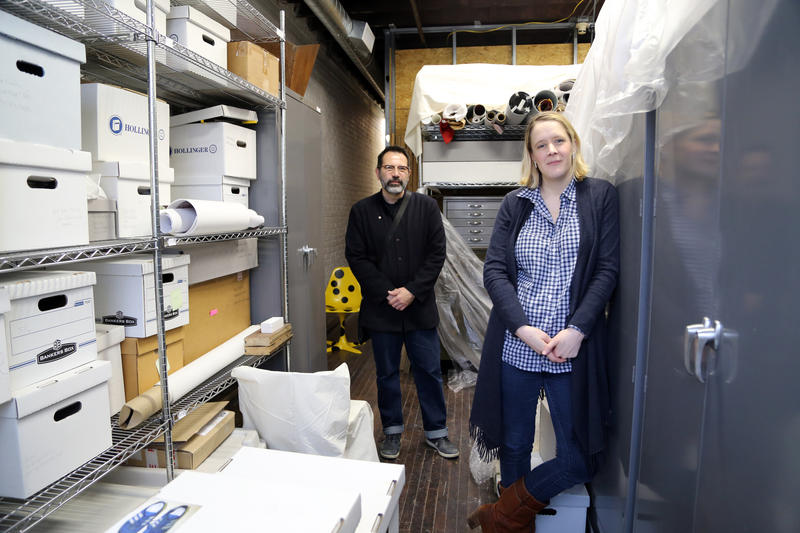 Michael Olijnyk and Sarah Hallett in the Mattress Factory archive room.