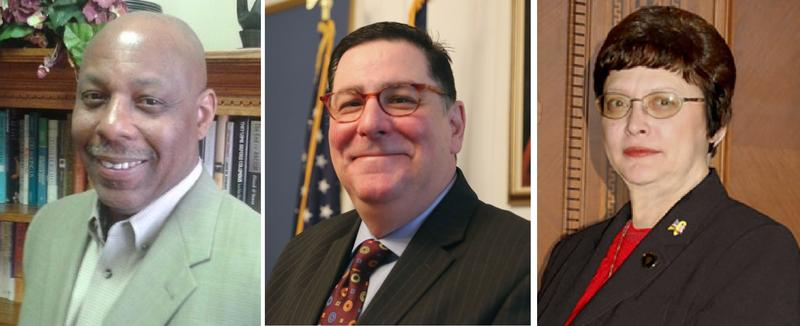 Rev. John Welch, left, and District 1 Councilwoman Darlene Harris, right, are challenging Mayor Bill Peduto, center, in the May Democratic Primary.