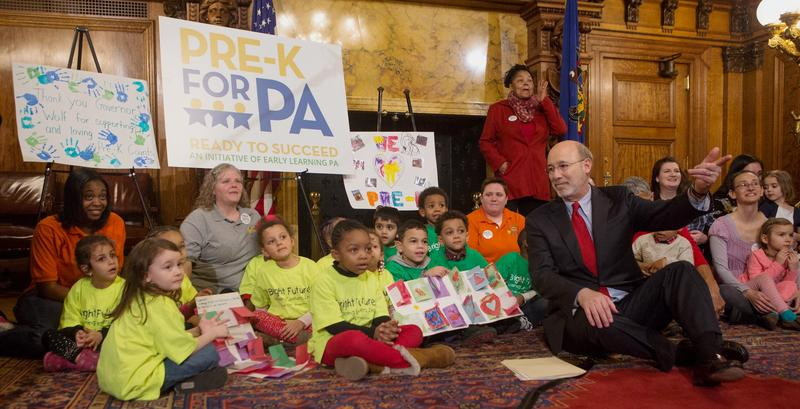 Pennsylvania Governor Tom Wolf sits with preschool children on Tuesday, Feb. 14, 2017. Wolf has included around $75 million dollars for Pre-K and Head Start programs in his 2017-18 budget proposal.