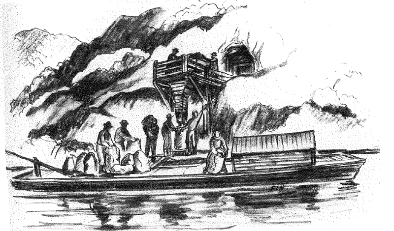 A drawing of a drift mine that shows how miners loaded bags of coal onto boats from Mt. Washington.