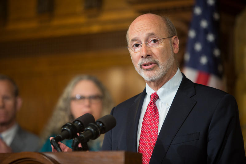 Gov. Tom Wolf speaking at the state capitol on Tuesday, April 18, 2017. He says he'll sign new legislation to help fix the state's unemployment compensation program.