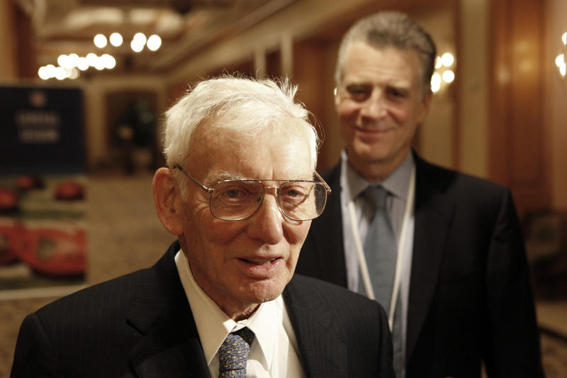 In this Wednesday, Dec. 17, 2008 file photo, Pittsburgh Steelers Art Rooney, right, looks on as his father Dan Rooney talks with reporters after the NFL owners meeting in Irving, Texas.