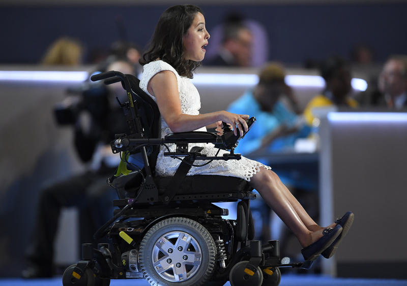 Anastasia Somoza speaks on disability rights during the first day of the Democratic National Convention in Philadelphia, Monday, July 25, 2016.