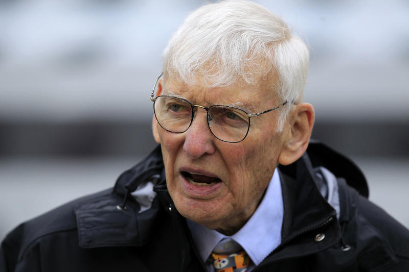 In this Oct. 7, 2012, file photo Dan Rooney watches warm ups before an NFL game between the Pittsburgh Steelers and Philadelphia Eagles in Pittsburgh.