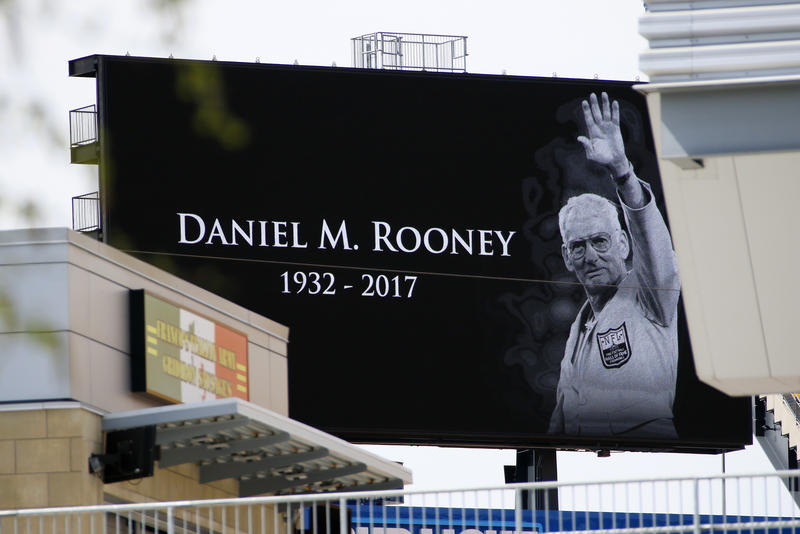 A scoreboard at Heinz Field, site of a public viewing Monday, April 17, 2017, honors Pittsburgh Steelers Chairman Dan Rooney, in Pittsburgh, Monday, April 17, 2017.