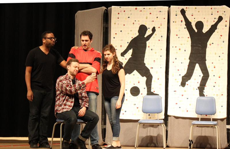 "Actors with the Saltworks Theater Company perform ""Off Script,"" a play about prescription drug addiction, at Cornell High School in Coraopolis, Pa. on Monday, April 10, 2017."