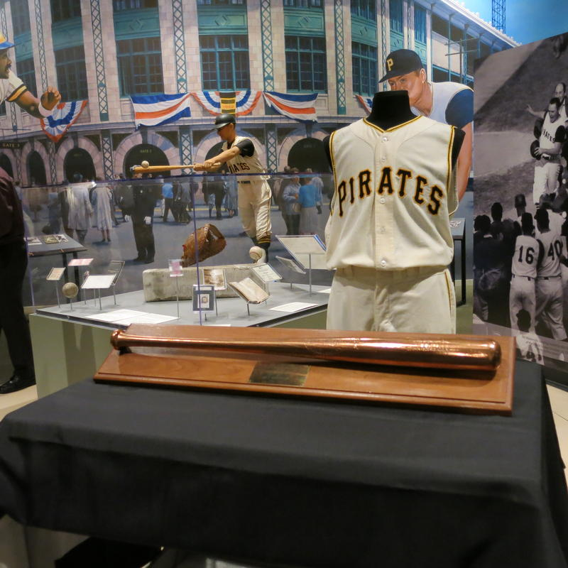 Bill Mazeroski's bat and uniform from game 7 of the 1960 World Series. The bat was used for his iconic home run in the ninth inning.