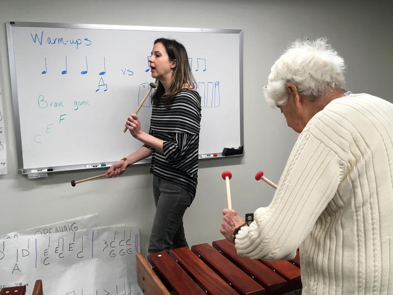 Jennie Dorris leads the class in a marimba lesson at BRiTE on Friday, February 17, 2017.