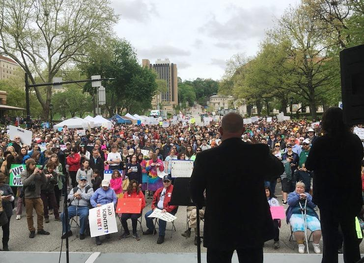 University of Pittsburgh bioengineering professor Lance Davidson addresses the crowd at Saturday's satellite March for Science in Oakland.