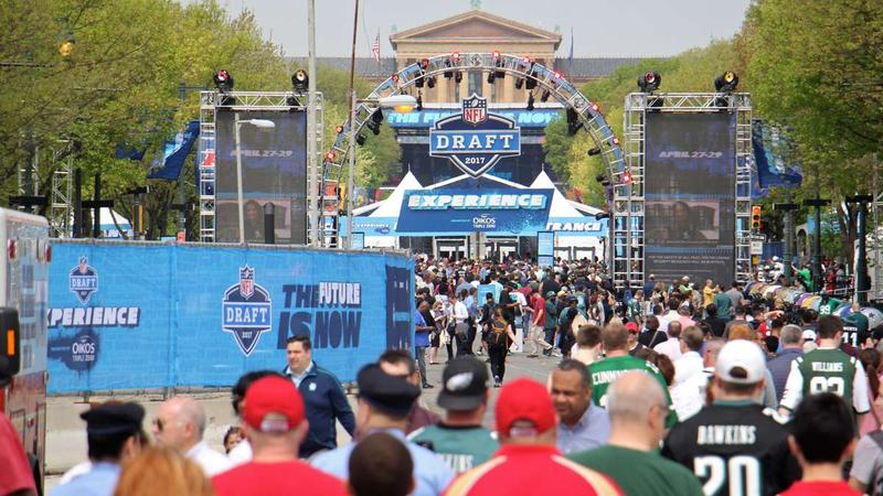 The Philadelphia Museum of Art is nearly obscured by the NFL Draft Experience on the Benjamin Franklin Parkway.