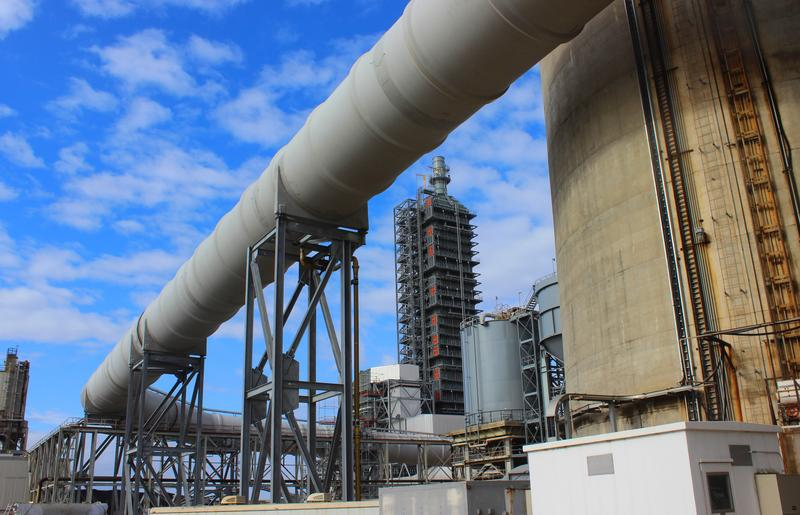 "A 15-foot diameter fiberglass duct routes the flue gas from the generating unit to the carbon capture system at the nation's first ""clean coal"" power plant, Petra Nova, near Houston, Tex."