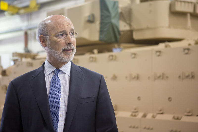 Gov. Tom Wolf pictured on May 1, 2017 in York, Pa. while announcing the creating of new jobs with the expansion of BAE Systems.