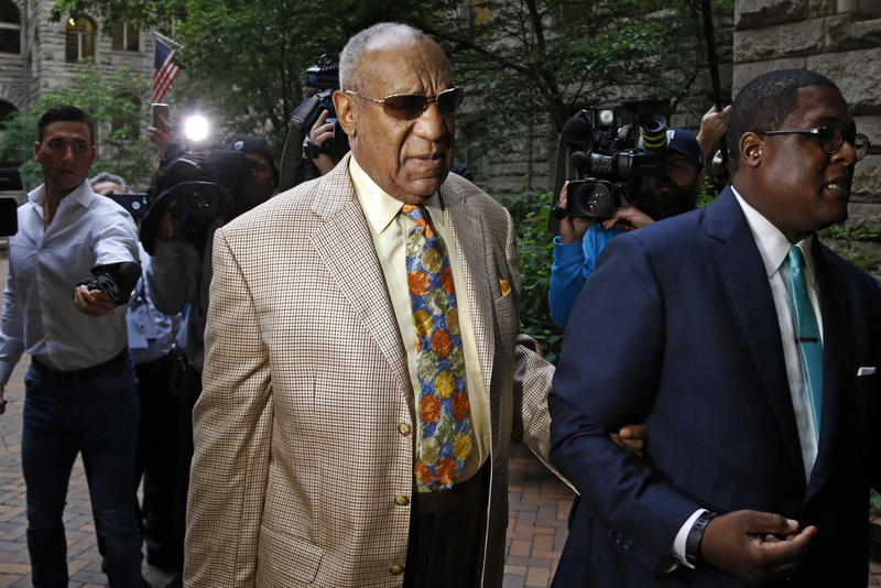 Bill Cosby, center, arrives for jury selection in his sexual assault case at the Allegheny County Courthouse, Monday, May 22, 2017, in Pittsburgh.