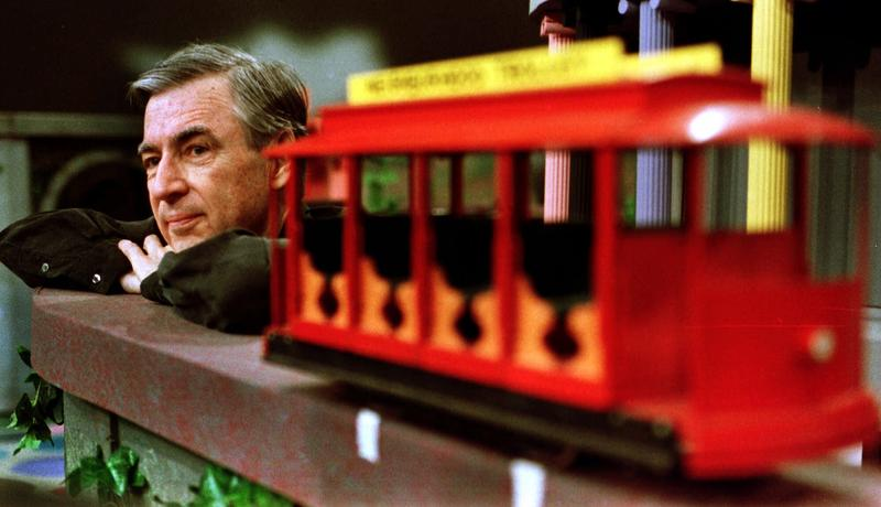 "Fred Rogers pauses during a May 27, 1993 taping of his show ""Mister Rogers' Neighborhood"" in Pittsburgh."