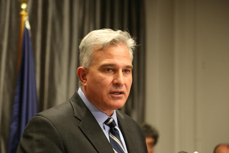 Allegheny County District Attorney Stephen Zappala at a press conference on March 29, 2017.  Zappala said he is considering filing charges against a police officer accused of kicking a man in the head during an arrest.